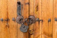 Locked wooden door Stock Photo