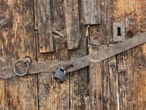 Locked wooden door royalty free stock images