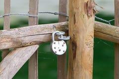 Locked wooden fence Stock Image