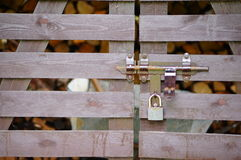 Locked wooden gate Stock Photos