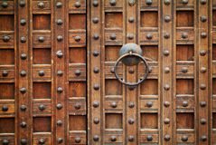 Locked wooden gate Stock Photo