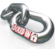 Locked In Words Chain Links Commitment Contractual Obligation. Locked In words on metal chain links to illustrate a commitment or contractual obligation you have Stock Images