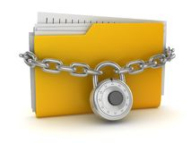 Locked Yellow Folder. This is a 3d rendered computer generated image. Isolated on white Royalty Free Stock Images