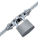 Locked Zipper. Double zipper and padlock (3D illustration over white background Stock Images