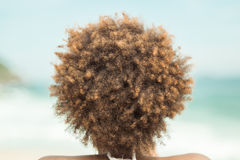 Lockenkopf des schwarzen Mädchens, hintere Ansicht stockfotografie