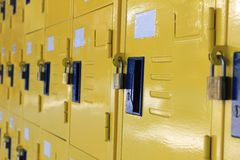 Locker. S that can be found at a gymnasium, high school, or university Royalty Free Stock Image