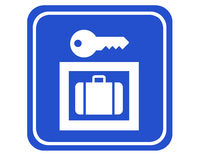 Locker. A typical blue sign showing the way to the next locker royalty free illustration