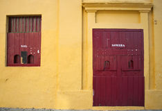 Locker door and the bullring. Located in the Spanish town of Jerez de la Frontera Royalty Free Stock Photography
