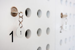 Locker door with key Stock Photography