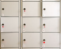 Locker. A grid of lockers in a museum or a gallery. Logos removed royalty free stock photography