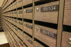 Locker MailBoxes postal for keep your information, bills,postcard,mails etc, condominium mailbox regulations Stock Photo