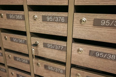 Locker MailBoxes postal for keep your information, bills,postcard,mails etc, condominium mailbox regulations Royalty Free Stock Images