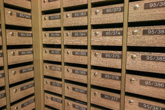 Locker MailBoxes postal for keep your information, bills,postcard,mails etc, condominium mailbox regulations Royalty Free Stock Photo