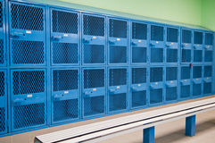 Locker Room. A locker room with colorful lockers royalty free stock image