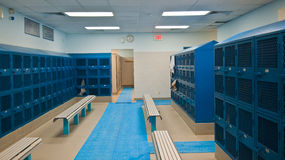 Locker Room. A locker room with colorful lockers stock photos