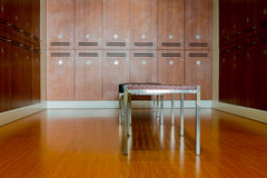 Locker room, cabinet and bench Stock Photo