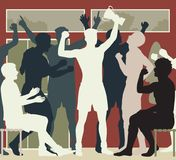 Locker room champions illustration. Editable vector cutout illustration of a victorious sports team celebrating in their locker room Stock Image