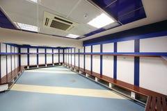 Locker room in Santiago Bernabeu Stadium stock photo