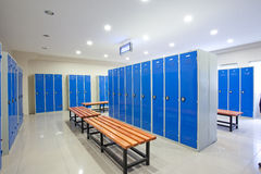Locker rooms. Cabinets and benches in the locker room stock image