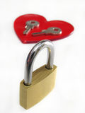 Locker and two keys on heart Stock Image