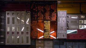 Locker Wall with neon lights stock photography