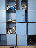 Lockers. Messy lockers in a high school campus Royalty Free Stock Image