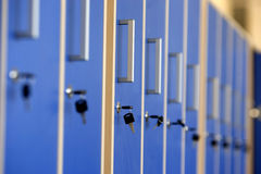 Lockers. Blue lockers with keys in high school Stock Photography
