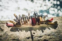 Lockers on the bridge royalty free stock image