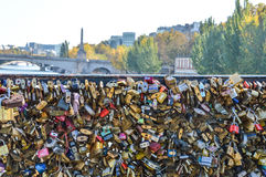 Lockers at the bridge in Paris. France Royalty Free Stock Images