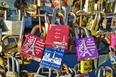 Lockers on the bridge in Paris, France. Royalty Free Stock Photos