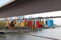 Lockers at the bridge. Symbol of love forever. Stock Photo
