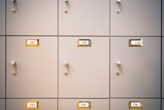 Lockers cabinets in locker room. Lockers cabinets in a locker room Royalty Free Stock Photos