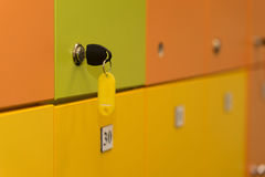 Lockers colorful with key Stock Photography