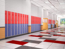 Lockers in the high school hallway. Royalty Free Stock Photography