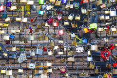 Lockers at the  Hohenzollern bridge symbolize love Stock Photography