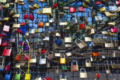 Lockers at the  Hohenzollern bridge symbolize love Royalty Free Stock Photo