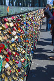 Lockers at the  Hohenzollern bridge symbolize love for ever Royalty Free Stock Photography