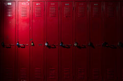 Lockers with Light. Image of a row of lockers with dramatic lighting Stock Photography