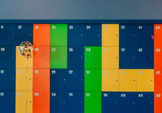 Lockers multicolored things store entertainment center royalty free stock images