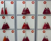Lockers for things in the store stock images