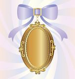 Locket. On an abstract background of a big gold locket, decorated with large lilac bow Stock Image