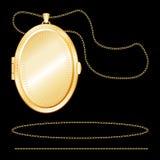 Locket d'ovale d'or gravé par +EPS Photos libres de droits