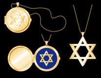 Locket da estrela de David do ouro de +EPS, pendente Imagem de Stock Royalty Free