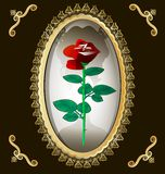 Locket and rose. The dark background of gold ornaments and frame-locket, in which a half-dark silhouette of ladies and red roses Stock Images