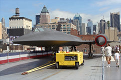Lockheed A-12 jet on USS Intrepid. A-12 supersonic reconnaissance jet on the flight deck of the USS Intrepid (Intrepid Sea-Air-Space Museum), New York City Stock Photos