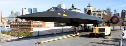 Lockheed A-12 Blackbird on the Intrepid Museum Flight Deck. A Lockheed A-12 Blackbird on display at the Intrepid Museum at the Manhattan Terminal in NYC Stock Photo