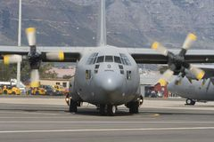 Lockheed C-130 Hercules aeroplane Royalty Free Stock Photos