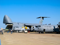 Lockheed C-5 Galaxy and 130 Hercules Royalty Free Stock Photography
