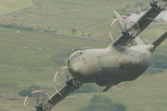 Lockheed C130J Hercules. C130 Hercules down low in the Welsh vallys Stock Images
