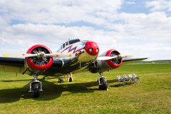Lockheed Electra 10A vintage airplane preparing for flight on airport. PLASY, CZECH REPUBLIC - APRIL 30: Lockheed Electra 10A vintage airplane preparing for Stock Images